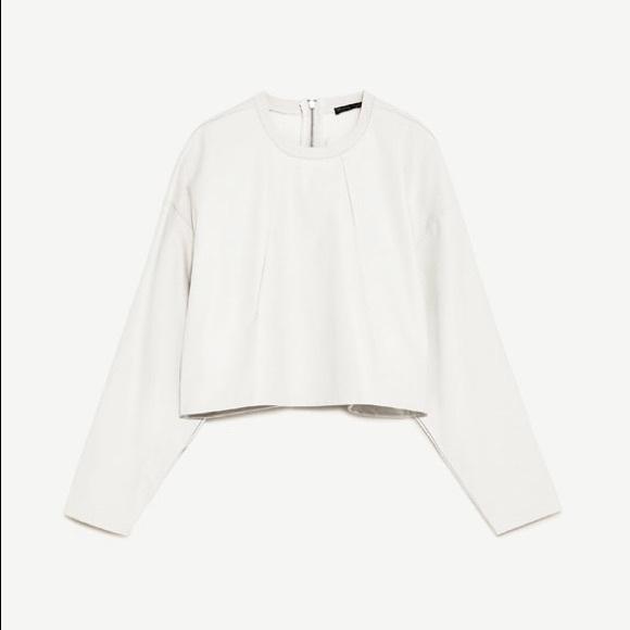 4201a1c6 NWT ZARA White Faux Leather Long Sleeve Crop Top NWT